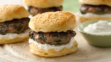 Spinach Turkey Sliders with Lemon Yogurt Sauce