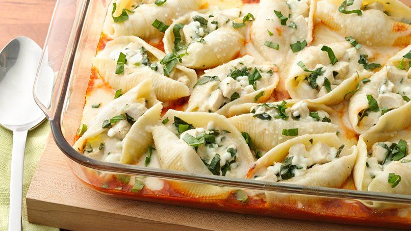 Chicken-Stuffed Shells with Two Sauces