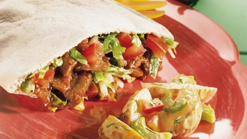 Cheesy Barbecue Beef Sandwich Pockets