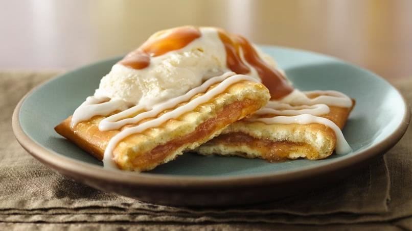 Apple Toaster Strudel Sundaes with Caramel Topping