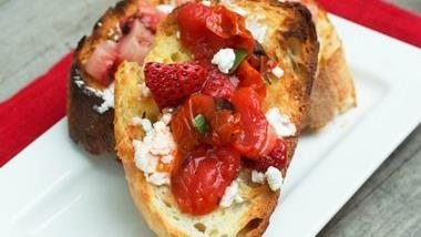 Grilled Strawberry-Tomato Bruschetta