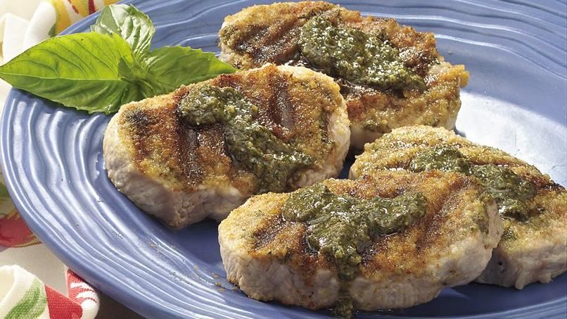 Pesto-Topped Grilled Pork Chops