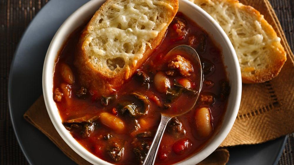 Italian Sausage Kale Soup with Cheesy Crostini