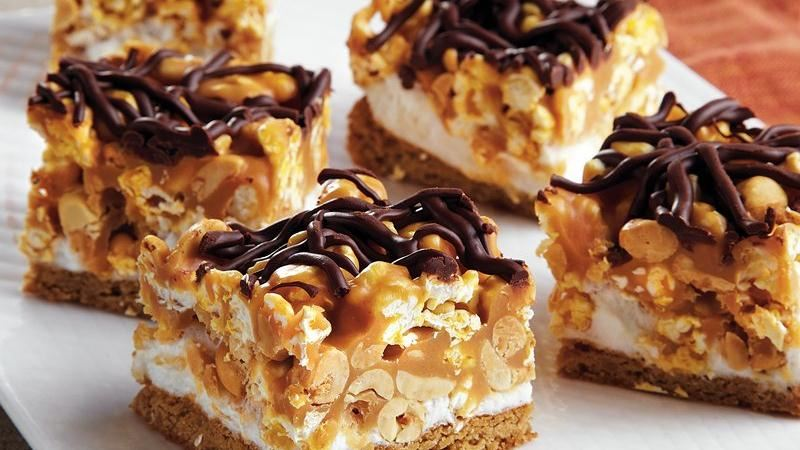 Caramel Peanut Popcorn Squares