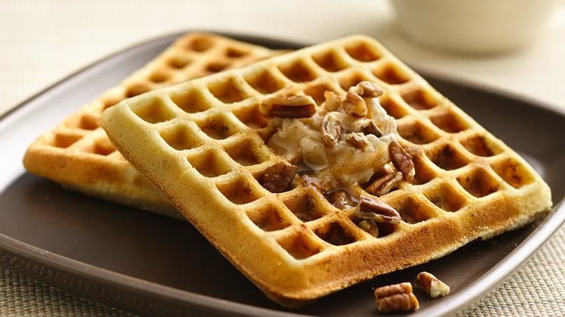 Pecan Cookie Waffles with Honey-Cinnamon Butter