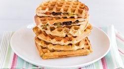Ham Bread Waffles