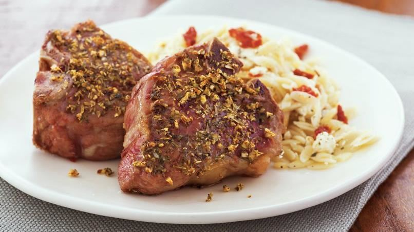 Lamb Chops with Herbed-Feta Orzo