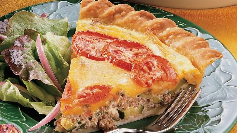 Cheddar, Beef and Zucchini Pie