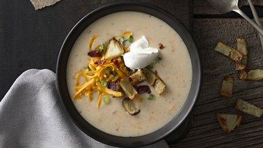 Baked Potato Soup with Crispy Potato Skins