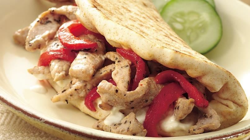 Peppered Pork Pitas with Garlic Spread