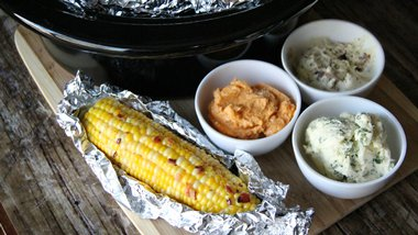Slow-Cooker Corn on the Cob with Flavored Butters