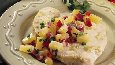Garlic-Lime Swordfish with Pineapple Salsa