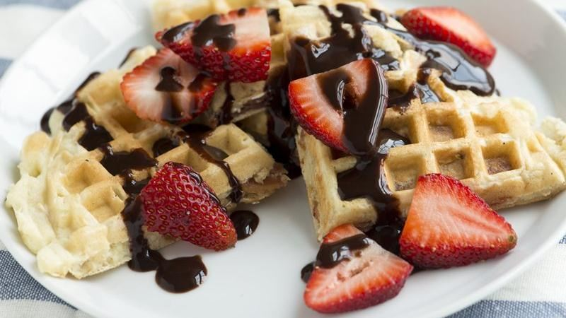 Bacon, Strawberry and Chocolate Waffles