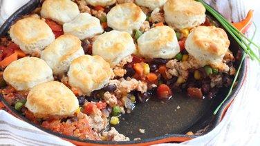 Turkey Chili Pot Pie Skillet