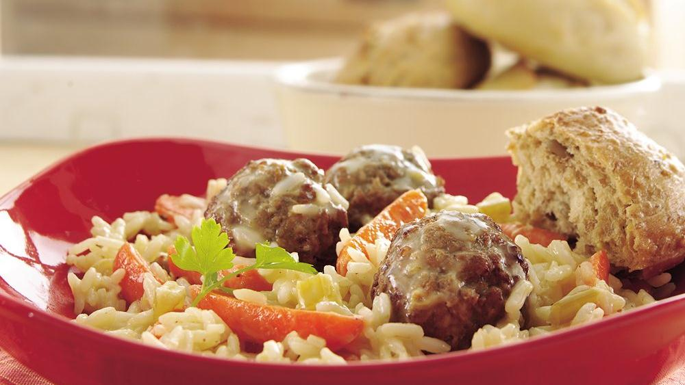 Meatballs and Creamy Rice Skillet Supper