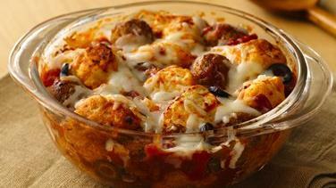 Italian Meatball Biscuit Bake
