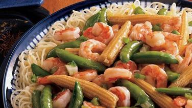 Stir-Fried Shrimp and Snap Peas Over Capellini