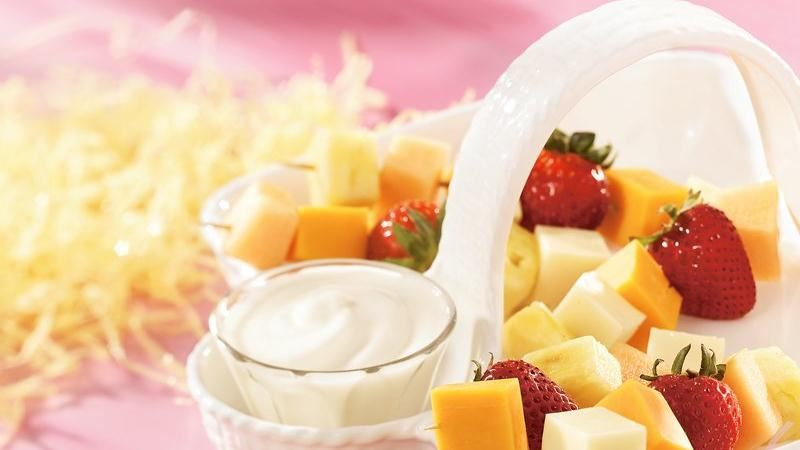Multi Fruit and Cheese Kabobs with Creamy Dip