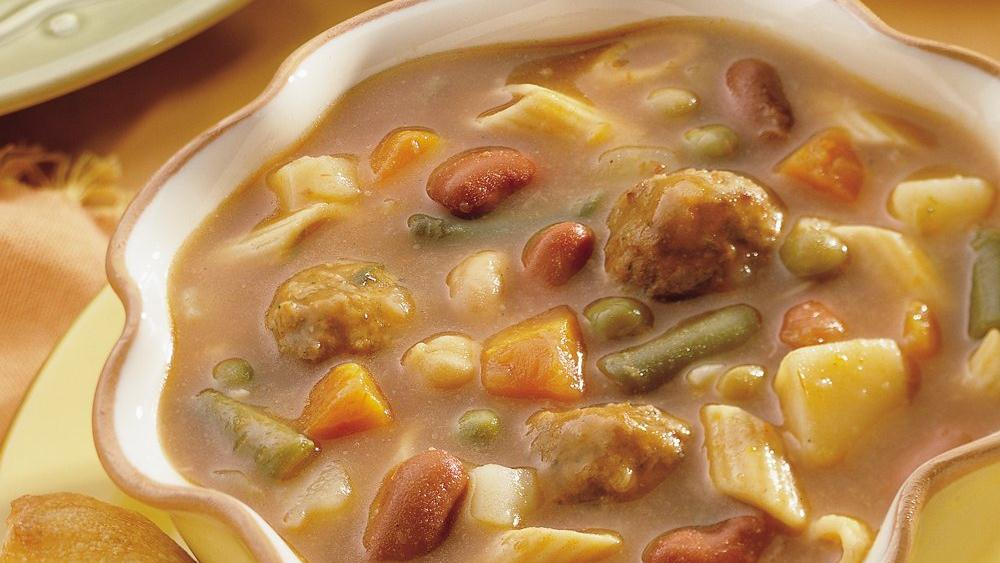 Easy Minestrone with Meatballs
