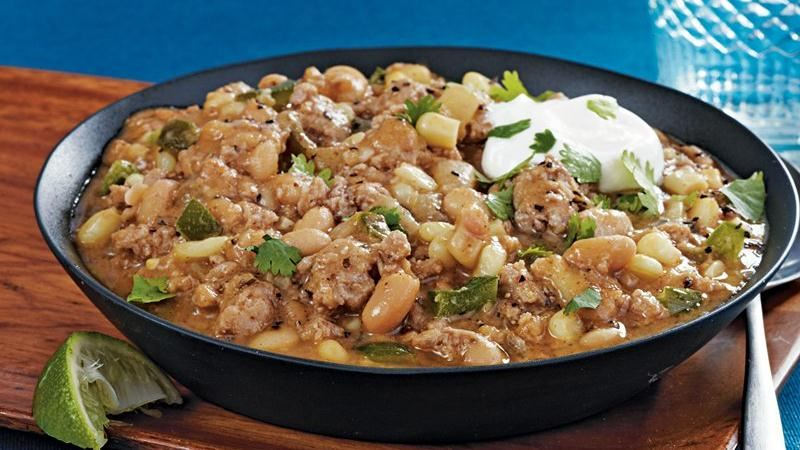 Slow-Cooker Turkey White Bean Chili recipe from Betty Crocker