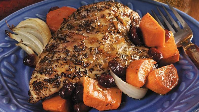 Orange-Glazed Roast Chicken Breasts with Sweet Potatoes