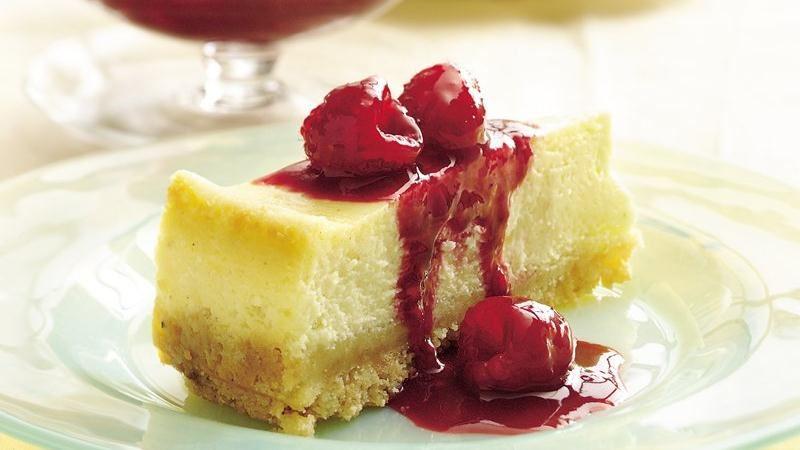 Raspberry-Topped Eggnog Cheesecake