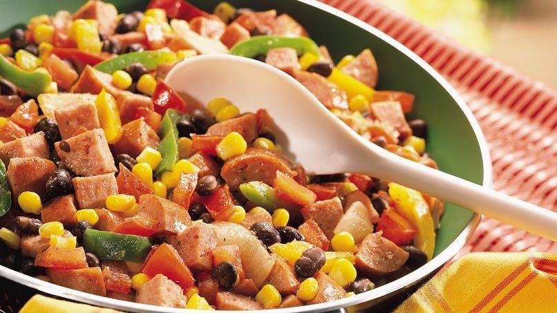Cajun Black Beans with Sausage and Corn