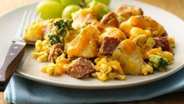 Broccoli, Potato and Chorizo Scramble