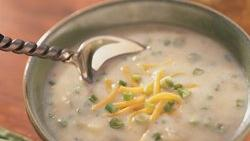 Rustic Potato Soup with Cheddar and Green Onions