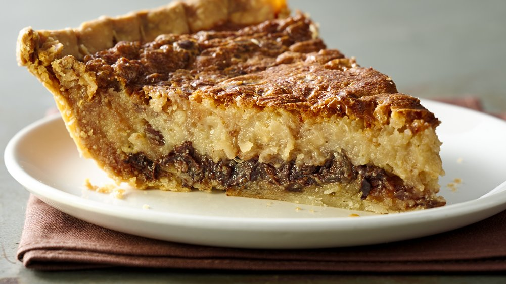 Chocolate and Coconut Pecan Custard Pie recipe from Pillsbury.com