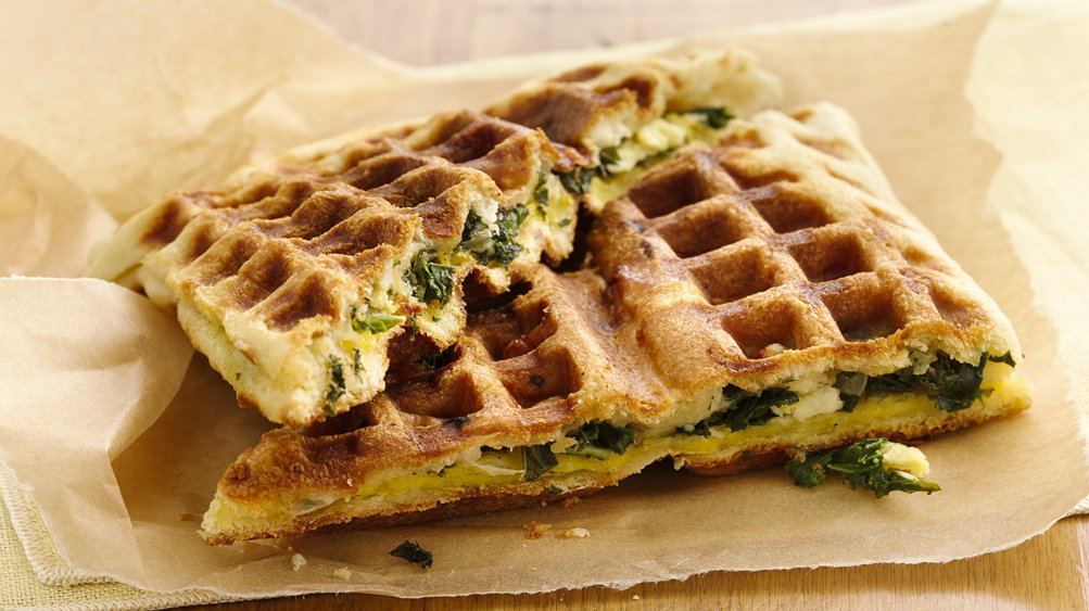 Feta and Kale Stuffed Breakfast Waffles