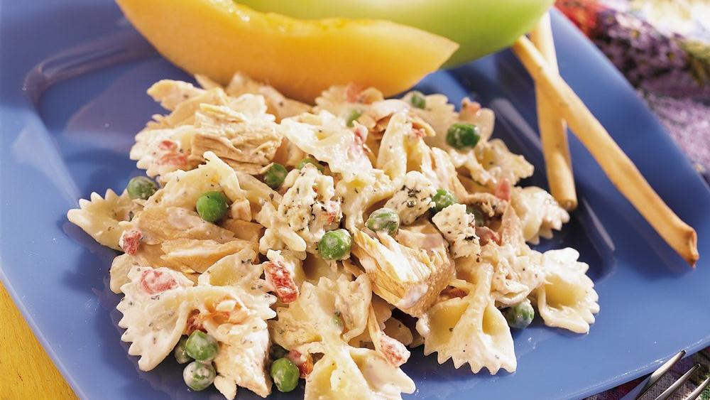 Creamy Feta, Bow Ties and Tuna Greek Salad