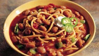 Three-Alarm Spaghetti and Pinto Bean Chili