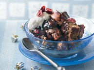 Chocolate Cranberry Bread Pudding