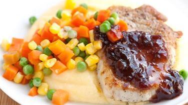 Pork and Polenta with Cherry Sauce