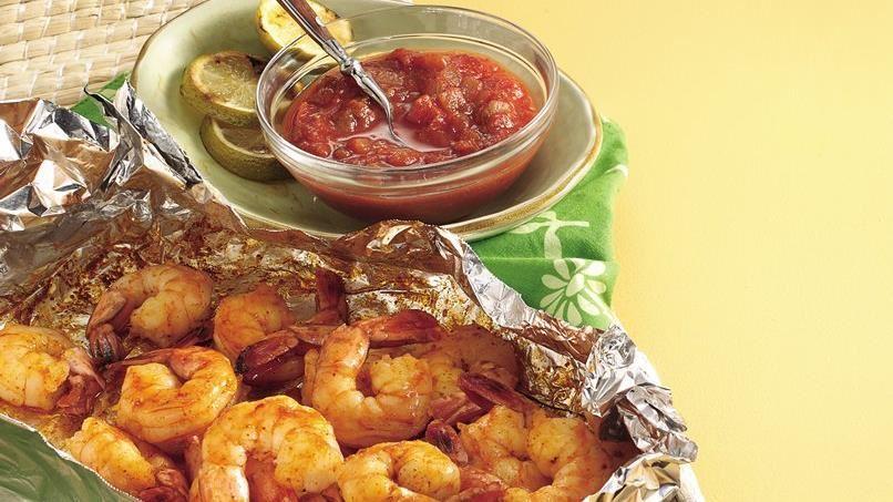 Chili Shrimp with Honey Salsa