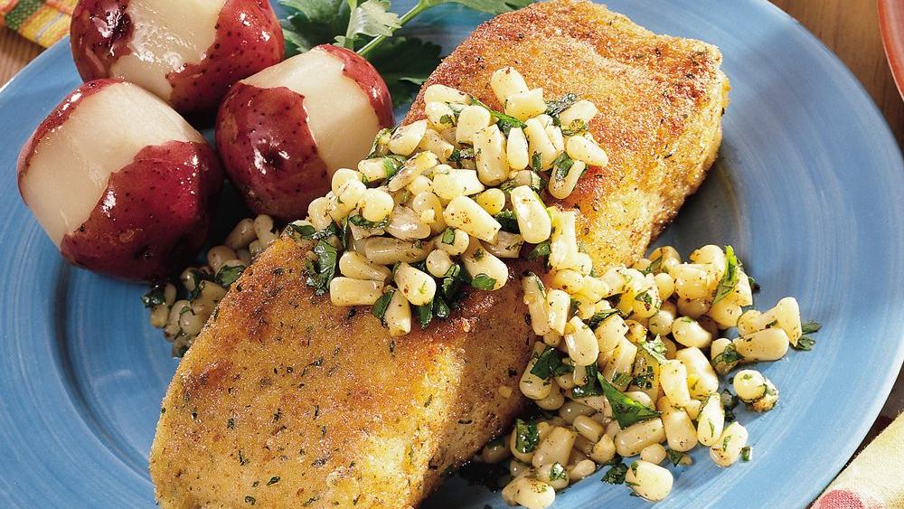 Halibut with Corn and Lime-Cilantro Butter recipe from Pillsbury.com
