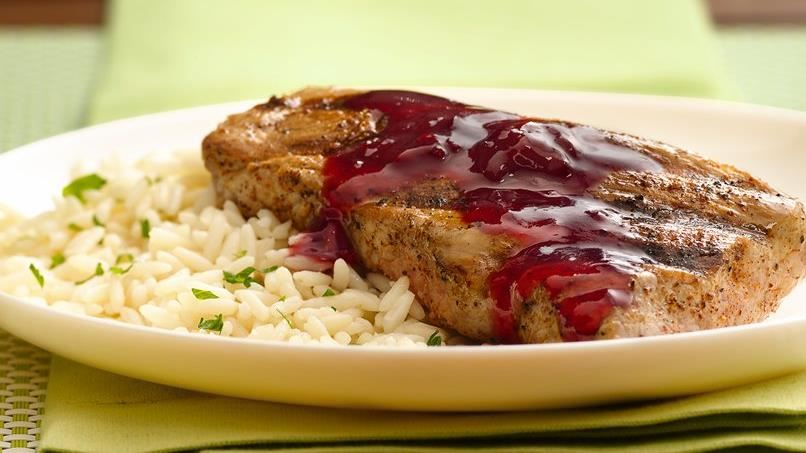 Grilled Pork Tenderloin with Raspberry-Chipotle Glaze