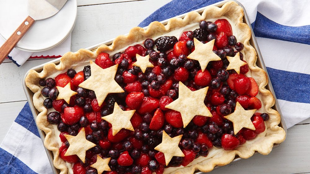 Star spangled red white blue slab pie recipe from for Fourth of july party dessert ideas