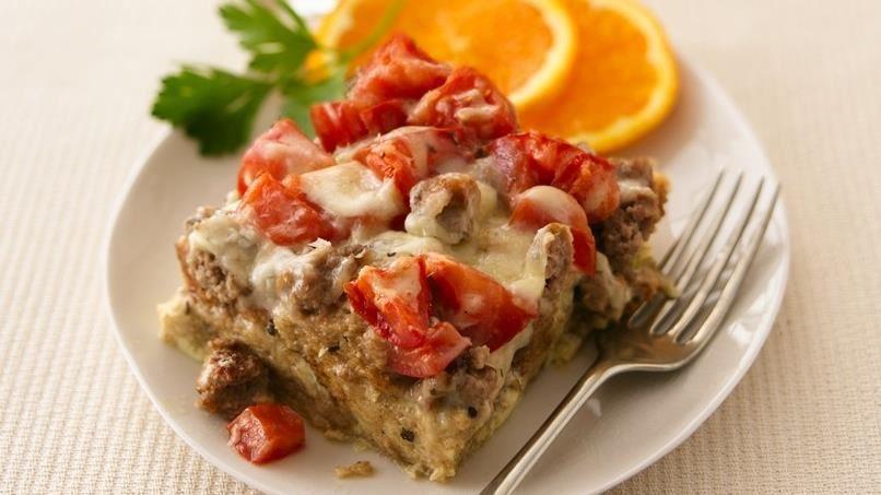 Sausage, Cheese and Tomato Strata