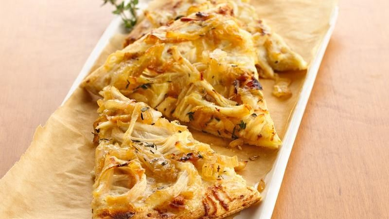 Grilled White Chicken Pizza with Caramelized Sweet Onions