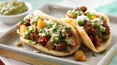 Chorizo Potato Puffy Tacos