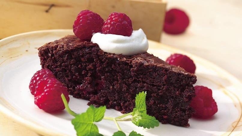 Easy Raspberry Brownie Wedges