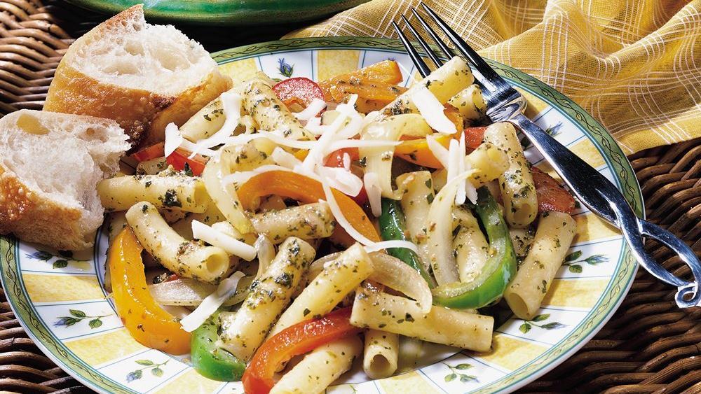 Three-Pepper Pasta with Pesto
