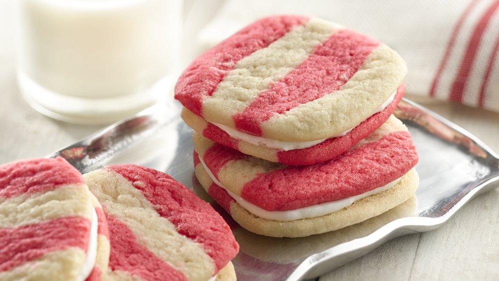 Striped Peppermint Sandwich Cookies