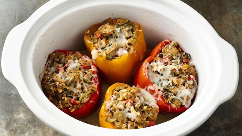 slow cooker italian sausage and farro stuffed peppers