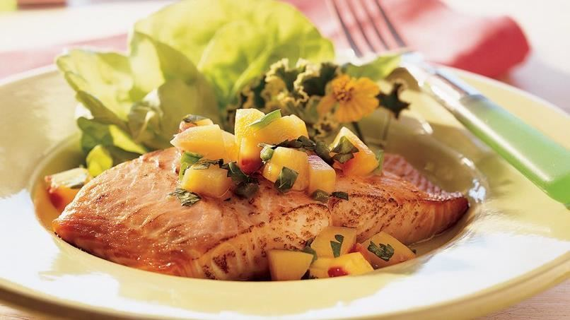 Grilled Salmon with Nectarine Salsa