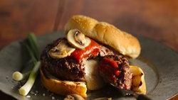 Mozzarella-Stuffed Mushroom Pizza Burgers