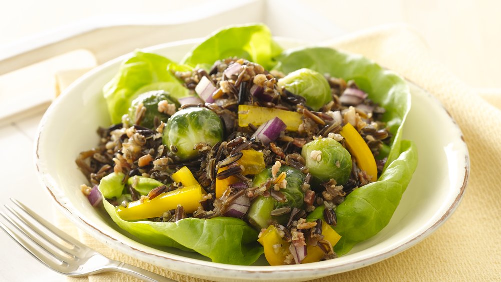 Maple Balsamic Brussels Sprouts and Wild Rice Salads