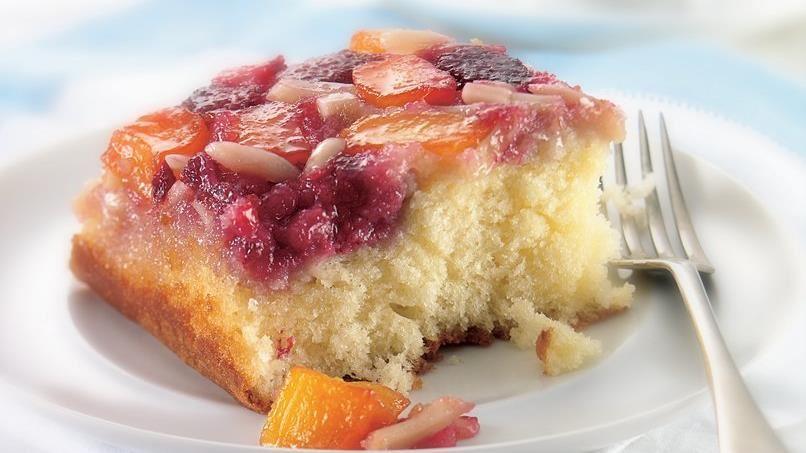 Raspberry-Mango Upside-Down Cake